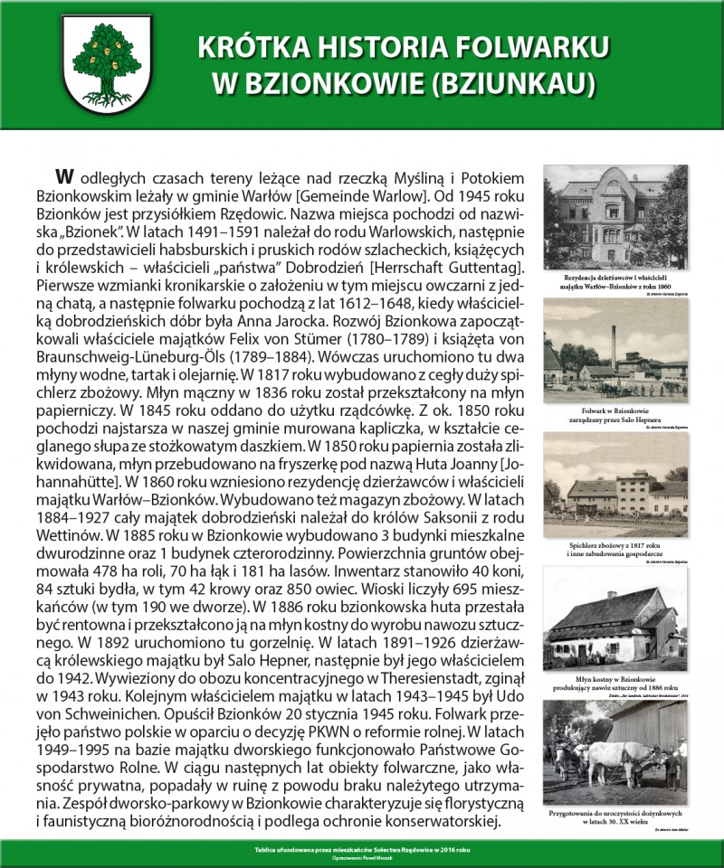 Rzędowice-Historia folwarku w Bzionkowie
